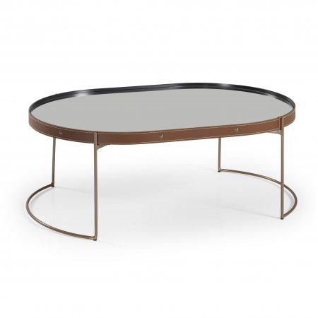 Mesa de Centro 92 cm Oval Couro Caramelo Metal Cobre 10579094