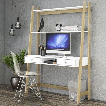 Estante Escrivaninha 123 cm Branco com Nature 10547084
