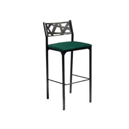 Banqueta Alta Eliza de Aço Tecido Veludo Verde 10608003