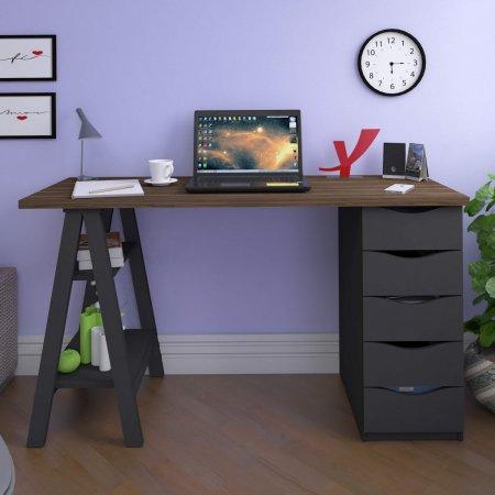 Mesa para Computador 135 cm Nogal com Preto 10583010