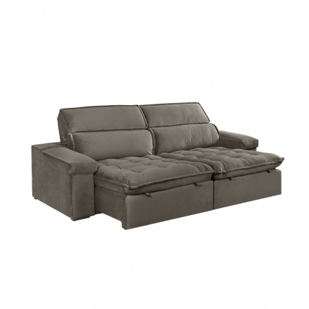 Sofá Retrátil Merlim com Molas Ensacadas 260 cm Tecido K026 Veludo Marrom Claro 10545309