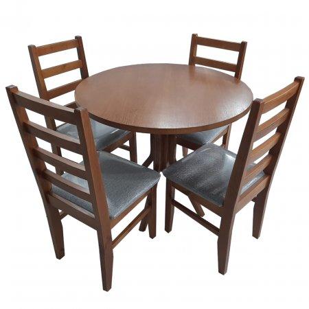 Mesa NR Atlanta Redonda 90 cm com 4 Cadeiras Estofadas Castanho 10159012