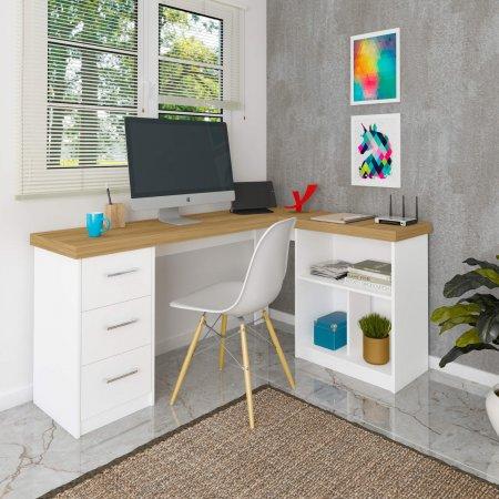 Mesa para Computador Escrivaninha 154x116,5 cm Olmo com Branco 10583025