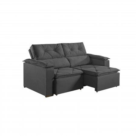 Sofá Retrátil com Encosto Reclinável Porto 220 cm Pillow Tecido Veludo Cinza Grafite 25002061