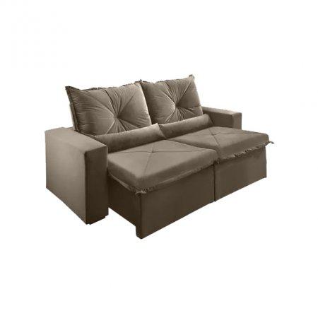 Sofá Retrátil com Encosto Reclinável Trento 200 cm Tecido Veludo Jolie Pena Capuccino 10595061
