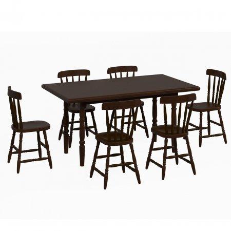 Mesa de Madeira com 6 cadeiras 160 cm cor Castanho