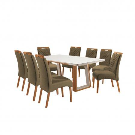 Mesa Ello Decor Veneza Mel com Off White 220x110 cm e 8 Cadeiras Tecido Linho 079B Marrom com Mel 10568120