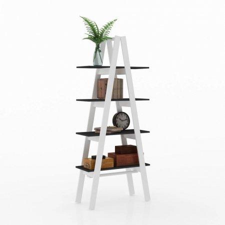 Estante Escada Maior 77 cm Preto e Branco 10547077