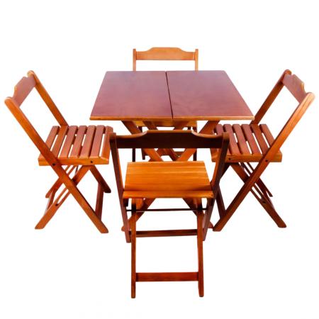 Mesa Dobrável Torneada 70x70 cm e 4 cadeiras Dobráveis Cor Mel 10610015-016