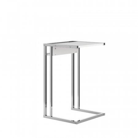 Mesa de Canto Lateral 40,5 cm Branco Fosco com Metal Cromado 10400104