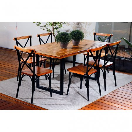 Mesa Art Luxo Lais 160x90 cm com 6 Cadeiras Natural com Ferro Preto 10378058