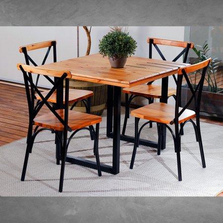 Mesa Art Luxo Lais 90x90 cm com 4 Cadeiras Natural com Ferro Preto 10378059