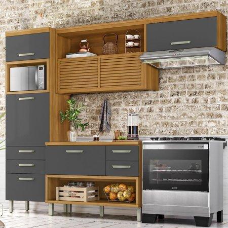 Cozinha Completa Diana 4 Peças 270 cm Freijó com Grafite 10533048