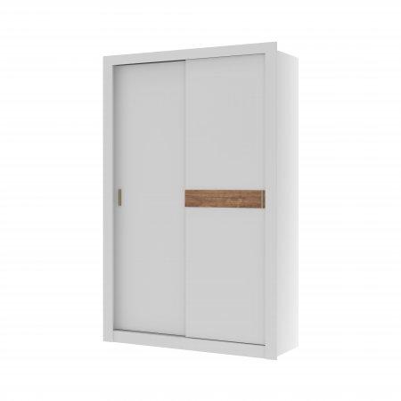 Guarda Roupa com 2 Portas de Correr 130,5 cm Branco com Native ou Branco Flex 10400100