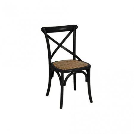 Cadeira Renan Móveis Paris Preta e Assento Ráfia 10590004