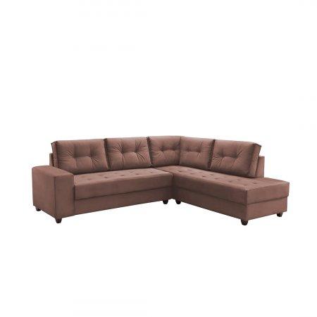 Sofá de Canto Rond 258x218 cm Tecido Veludo Blumenau Rose 10283254