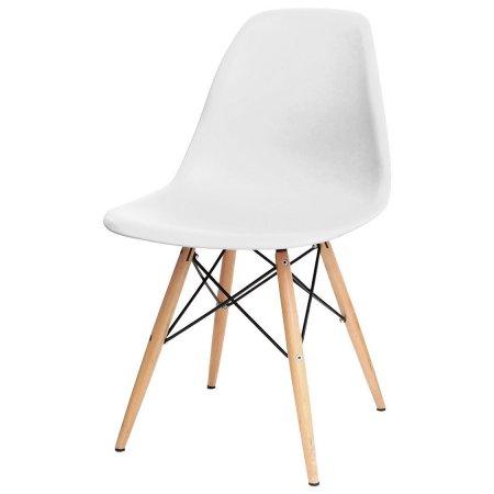 Cadeira Eiffel Branca com Base de Madeira 10580010