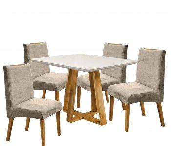 Mesa Imperial 120 cm Cinamomo com Off White e 4 Cadeiras Linho Bege com Mel 10224058