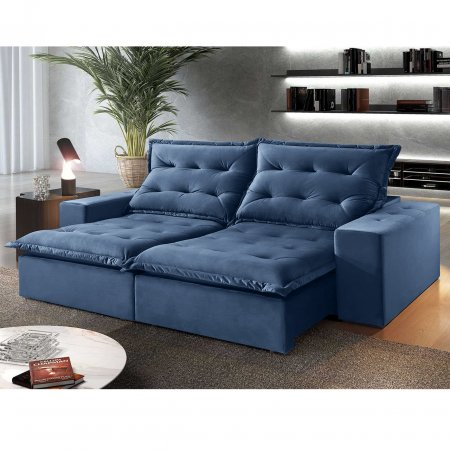 Sofá Retrátil 230 cm com Encosto Reclinável Tecido Azul 25003004