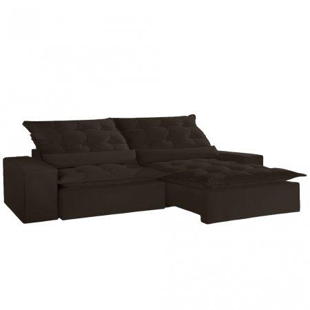 Sofá Retrátil Mont 290 cm Veludo Marrom Escuro 10595033