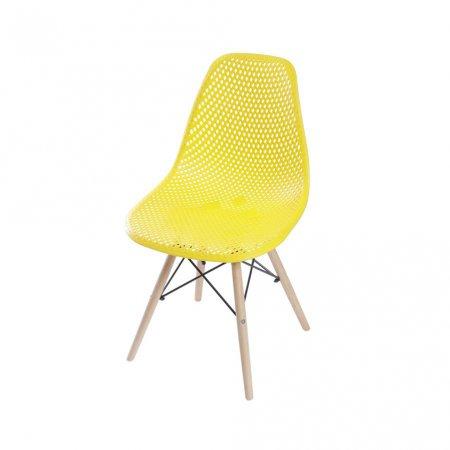 Cadeira Colmeia II Amarela com Base Eiffel de Madeira 10580027