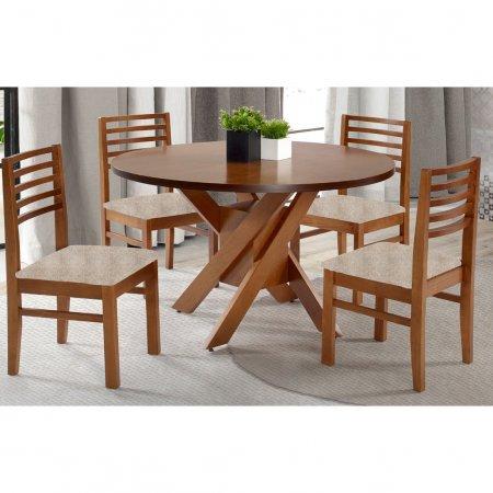 Mesa de Jantar Redonda 120 cm com 4 Cadeiras Pinhão 10593013-014