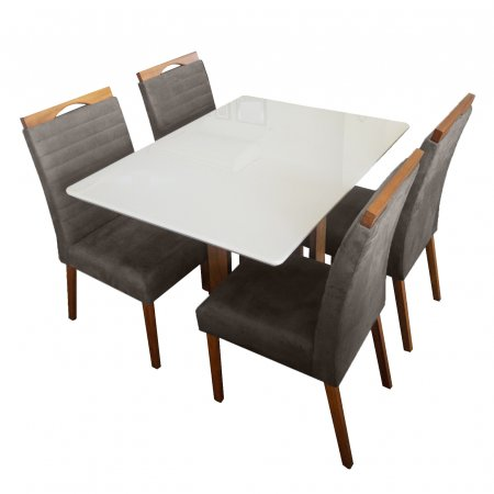 Mesa de Jantar Eld Mel com Off White 120x90 cm e 4 Cadeiras Mel Tecido 62C Marrom Claro com Mel 10568011
