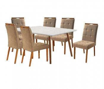 Mesa de Jantar Eld Mel com Off White 160x90 cm e 6 Cadeiras Tecido 21B Linho Bege com Mel 10568001