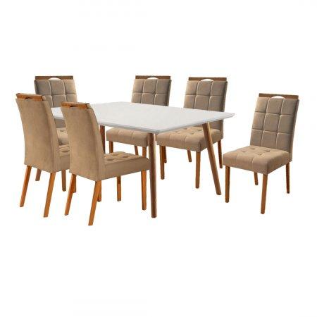 Mesa Ello Decor Topázio Mel com Off White 160x90 cm com 6 Cadeiras Tecido 21B Linho Bege com Mel 10568001