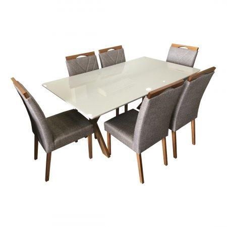 Mesa Ello Decor Diamante Mel com Off White 180x100 cm com 6 Cadeiras Linho Marrom com Mel 10568023