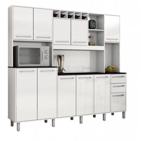 Kit de Cozinha 218 cm Valdemóveis Petra Branca 10561013