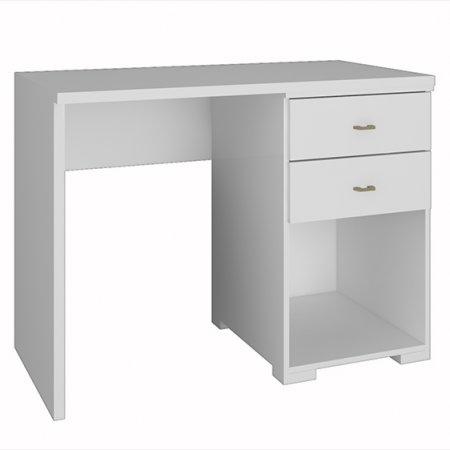Mesa de Computador Escrivaninha 100% MDF com Tampo Extensível 2 Gavetas Branca 10523313