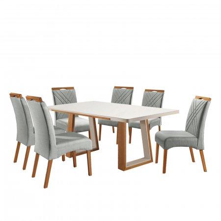 Mesa de Jantar Eld Mel com Off White 180x100 cm e 6 Cadeiras Tecido Linho 022B Bege com Mel 10568114
