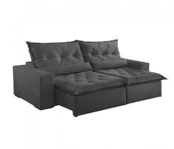 Sofá Retrátil com Encosto Reclinável Ouro Branco 290 cm Tecido Veludo Cinza Grafite 10595069