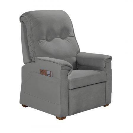 Poltrona Reclinável 90 cm Bianchi Confort do Papai Tecido K038 Veludo Cinza Grafite 10545120