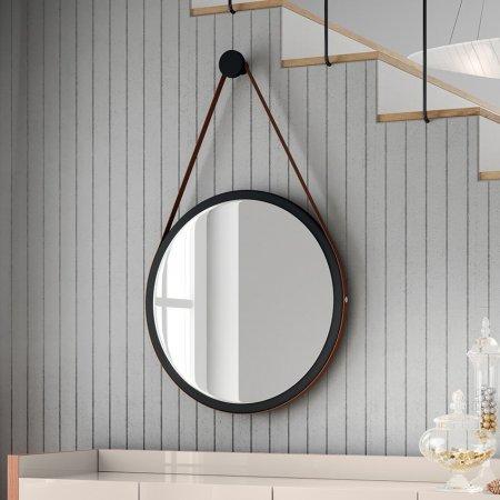 Espelho Disco Decorativo HB com Alça 670 Preto 10346310