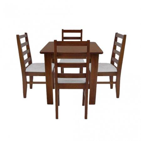 Mesa para Cozinha 80x80 cm Castanho e 4 Cadeiras Estofadas Cinza 10159010