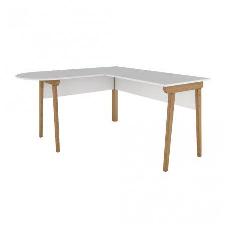 Mesa para Computador Escrivaninha 140x140 cm Office Fit L Branca com Natural 10386989