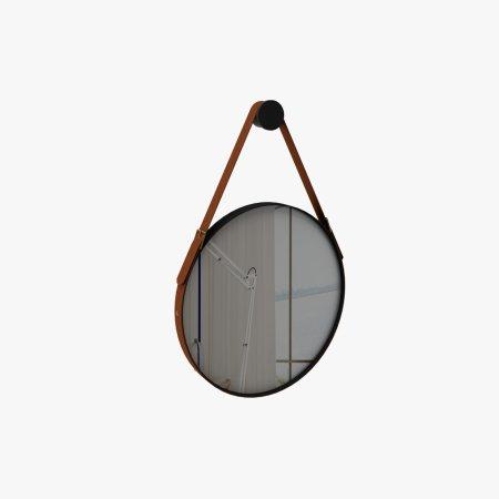 Espelho 50x50 cm Rudnick Onix Preto Fosco e Couro Caramelo 10579039