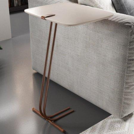 Mesa de Apoio para Sofá 41 cm Off White Detalhe couro Base Café 70044002