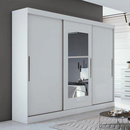 Guarda Roupas Montebello 270 cm 3 Portas 1 Espelho Branco 10365550