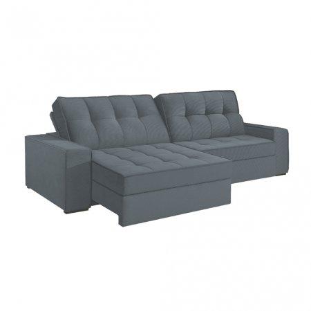 Sofá VIP Denver Retrátil e Reclinável 240 cm com Molas Ensacadas Tecido 117 Cinza Escuro