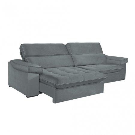 Sofá VIP Rubi Retrátil e Reclinável 246 cm com Molas Ensacadas Tecido 117 Cinza