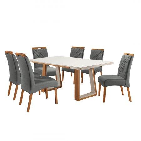 Mesa Ello Decor Veneza Mel com Off White 180x100 cm e 06 Cadeiras Veludo Grafite com Mel 10568098