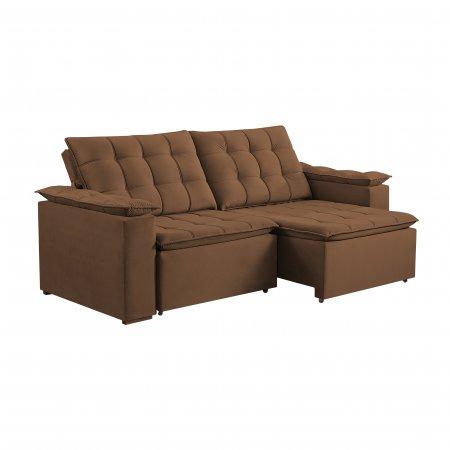 Sofá Retrátil com Encosto Reclinável Palermo 220 cm Pillow Tecido Veludo Caramelo 25002059