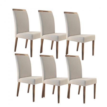 Conjunto 6 Cadeiras Daniela Estofadas Tecido Linho Bege 10427216