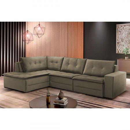 Sofá de Canto Retrátil Rond 308x210 cm Tecido Camurça Cambuci 10283278