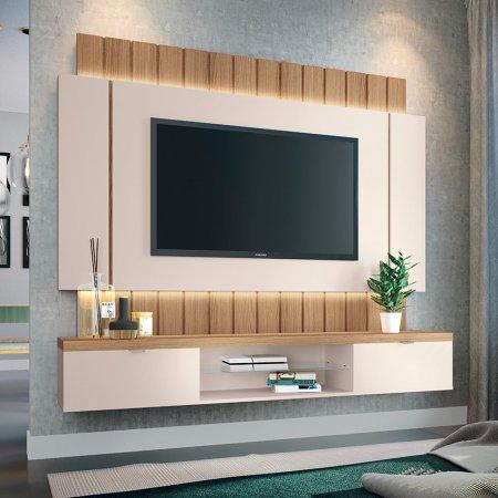 Painel Suspenso para TV 180 cm Off White com Freijó 10346332