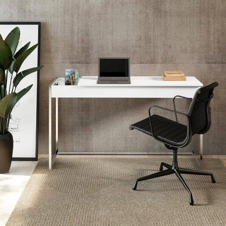Mesa para Computador Escrivaninha e Penteadeira 136 cm Branco Fosco com Metal Cromado 10400107