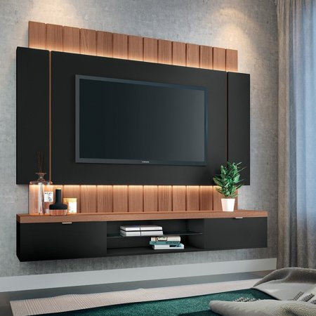 Painel Suspenso para TV 180 cm Preto com Nature 10346315